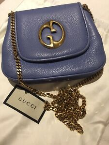 Gucci 1973 Pale Powder Blue pebbled crossbody chain bag leather lined