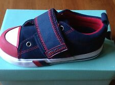 """BNIB - CLARKS """"Reilly"""" boys navy & red suede shoes (10E+) RRP $49.95 - 40% off"""