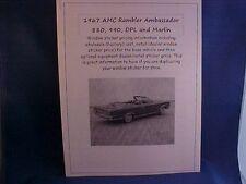 1967 AMC Rambler Ambassador/Marlin cost/dealer sticker prices for car/options $$