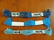 lot de 3 échevettes de fils à broder 3 bleus différents (10)