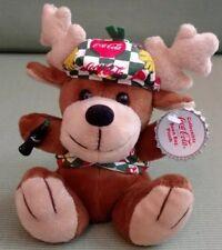 Reindeer Coca Cola 8in beanbag toy w/ miniature Coke bottle and cap hangtag 8362
