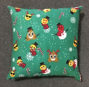 "Beautiful Handmade Winter Emoji Accent - Throw Pillow  9"" x 9"""