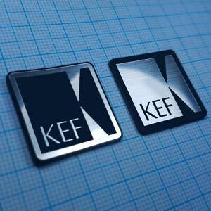 2 (TWO) KEF Audio - Aluminium Metallic Logo Sticker - 25.4 mm / 25.4 mm