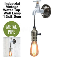 Vintage Industrial Iron Wall Light Bar Loft Retro Water Tap Pipe Lamp Sconces