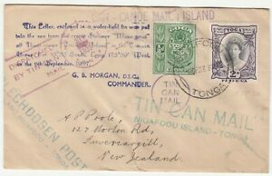 Tonga: Tin Can Mail Cover: Niuafoou Island to Invereargill, NZ, 18 Sep 1937