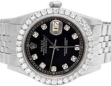 Mens Rolex Datejust 36MM Stainless Steel Jubilee Black Dial Diamond Watch 3.5Ct