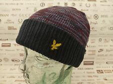 LYLE & SCOTT Turn-up Beanie Indigo Logo Hat Ribbed Hem Double Layer Cap BNWT