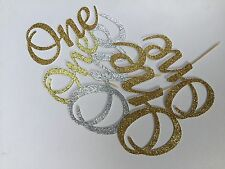 First Birthday Number One Glitter Cake Topper Toothpick Number up to 15cm