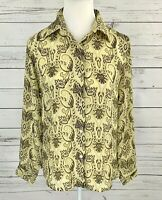 Maria Gabrielle Top Womens Small S Green Paisley Button Long Sleeve Blouse