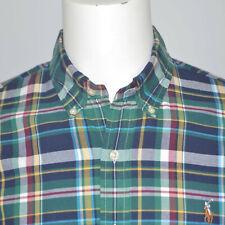 Polo Ralph Lauren Oxford Classic Fit Green Plaid Cotton Casual Shirt Sz M