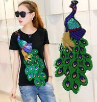 60CM Large Clothing's Sequin Peacock Applique Patch DIY Embroidery Sewing Craft