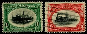 US Sc#294-295 1901 1-2c Pan Americans Fine Centered & Sound Used