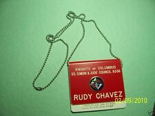 KNIGHTS OF COLUMBUS - Name Tag Stainless Steel CHAIN 30 inches