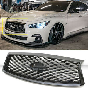 Fit 18-21 Infiniti Q50 Glossy Black JDM Front Bumper Upper Replacement Grille