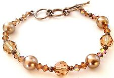 New Golden Brown Made With Swarovski Crystal Faux Pearl Bracelet Sterling Silver