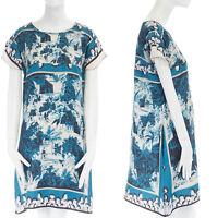 DOLCE GABBANA blue white 100% silk cap sleeve mini dress IT40 S