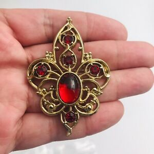 "1928 Jewelry Brand Gold Tone Red Crystal Filigree Pin Brooch 2.25"" x 1.5"""