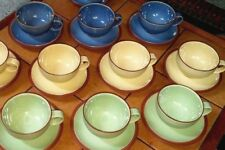 9 Denby JUICE CUPS & SAUCERS SETS * Solid GREEN BLUE YELLOW * Creamer Sugar S&P
