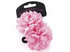 Large Pink Flower Ponio Hairband Hair Elastics School Bobbles