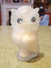 """4"""" Snow Owl Powder Sachet Bottle Dispenser Blue Eyes """"Timeless"""" Full Avon"""