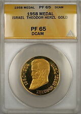 1958 Israel Theodor Herzl Proof Gold Medal ANACS PF-65 DCAM Deep Cameo