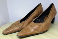 "Brown Leather Court Shoes By Caprice Size Uk  6 Lovely detailing 2.5"" Heel"