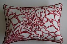 Handmade Pillow Embellished Beaded Flower off-white Red Backing & Cord
