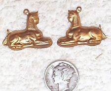 VINTAGE EGYPTIAN SPHINX BRASS CHARMS STAMPINGS WITH RING 10 PIECES