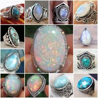 Turquoise 925 Sliver Ring White Fire Opal Moonstone CZ Wedding Engagement 6-10