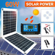 60W 20W Dual USB Solar Panel For Car Boat Camping Battery Charge 10A Controller