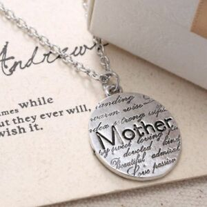 Silver Lettering Mother Necklace 624