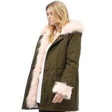 Brave Soul Womens Ashanti Pale Pink Faux Fur Trim Coat Ladies Parka Jacket uk 10