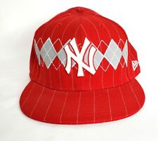 Red Argyle 59fifty New York Yankees Hat. Size 8 New Era