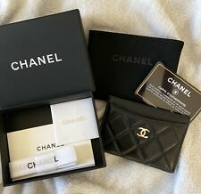 CHANEL Quilted Black Lambskin Classic Card Holder Gold Hardware