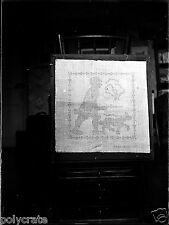 Canevas broderie chasseur chien ancien négatif verre photo - an. 1910 1920