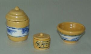 MINIATURE Dollhouse SEAWEED YELLOW WARE Pottery SIGNED NS Lot M