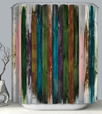 Rustic Painted Wood Boards Planks Fabric Shower Curtain 70x70 Primitive Barn