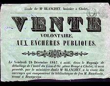 CHOLET (49) MAGASIN de l'HOTEL DU LION D'OR / BIBLIOTHEQUE de R RANDOUIN en 1847