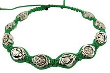 First Communion Gift Green Adjustable Cord Bracelet with Lady of Guadalupe Medal