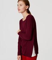 NWT Ann Taylor Loft Mixed Media Side Ribbed Sweater Size XSP Fresh Plum Wine 12