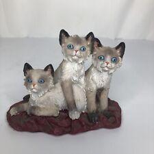Vintage Siamese Cat Trio Handpainted Ceramic Felt Bottom Home Decor