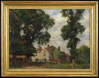 c.1920 English School, View of Cottages, Fine Antique Landscape Oil Painting