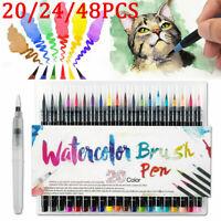 20/24/48pcs Lot Watercolor Brush Marker Pens Dual Tips Soft Fine Art Drawing Pen