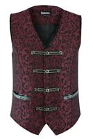 Premium Mens Vest Waistcoat Maroon Damask Velvet Goth Steampunk VTG/Brocade Vest