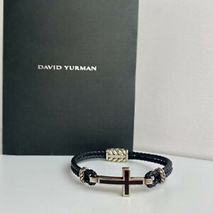 "David Yurman ""Exotic Stone Cross"" Leather Bracelet with Sterling Silver and Onyx"