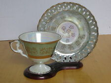 Inarco Japan Footed Cup & Saucer Reticulated  Opalescent Green w/ Gold Leaf