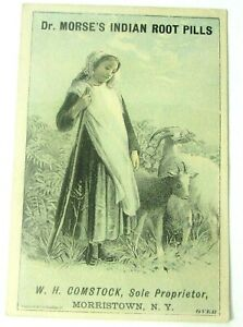 Dr. Morse's Indian Root Pills Victorian Trade Card Goatherder Mountain Goats