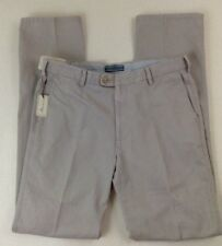 Peter Millar Men Chino Pants 34 X 36 Light Gray Flat Front 100 Cotton