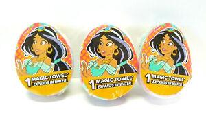 "(3) MAGIC TOWELS Disney JASMINE -ALADDIN- Washcloth 11.5""x11.5"" EXPANDS IN WATER"