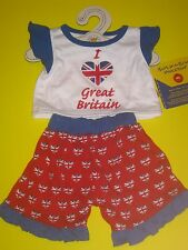 BUILD-A-BEAR I LOVE HEART GREAT BRITAIN OUTFIT PAJAMAS UK UNION JACK ENGLAND